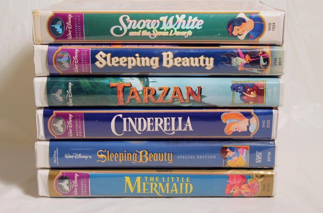 Lot of 6 VHS Disney Little Mermaid Cinderella Tarzan Sleeping Beauty x2 Snow Whi