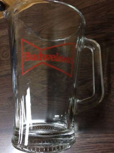Classic Vintage BUDWEISER Beer 60oz Heavy Glass Pitcher for Bar & Man-Room
