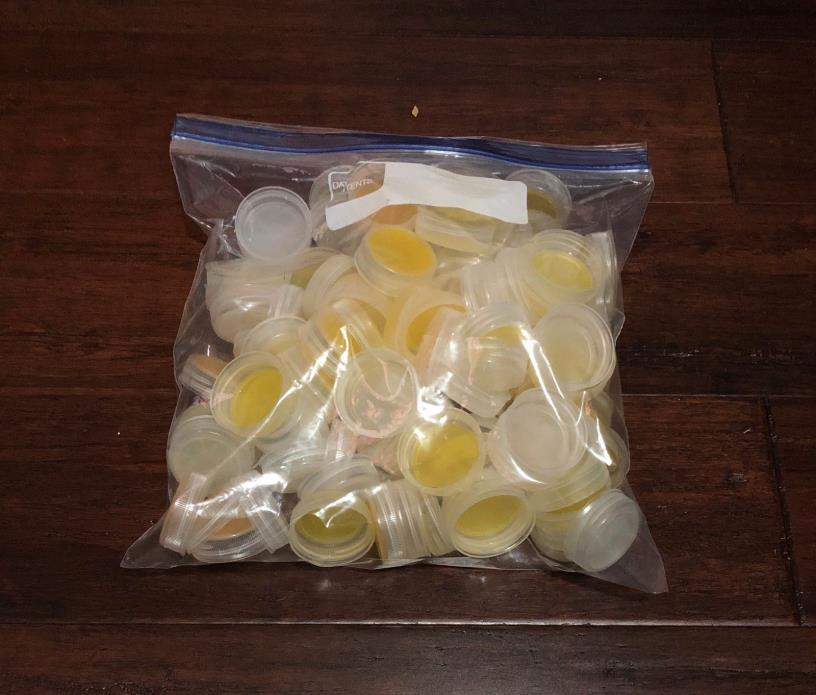 100 - 1.5 Inch Plastic Bottle Caps Tops White Opaque from Vitamin Water Bottles