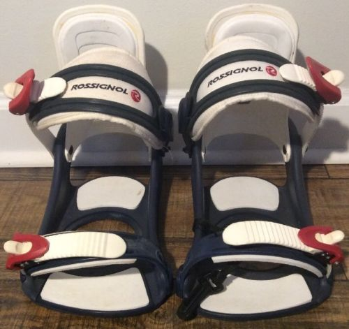 Rossignol Snowboard Bindings Navy, White, And Red With A Leash