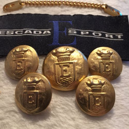 5 Vintage Gold Escada Sport Jacket Buttons Collar Chain Label