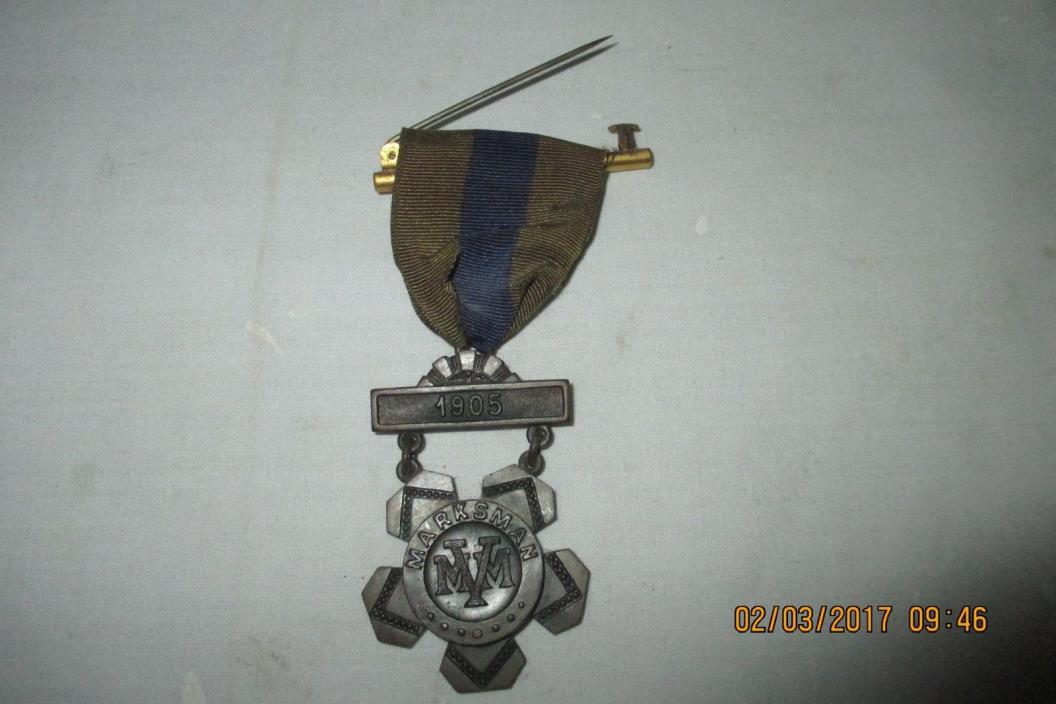 1905 Marksman Medal Striped Ribbon - Massachusetts Volunteer Militia (MVM)