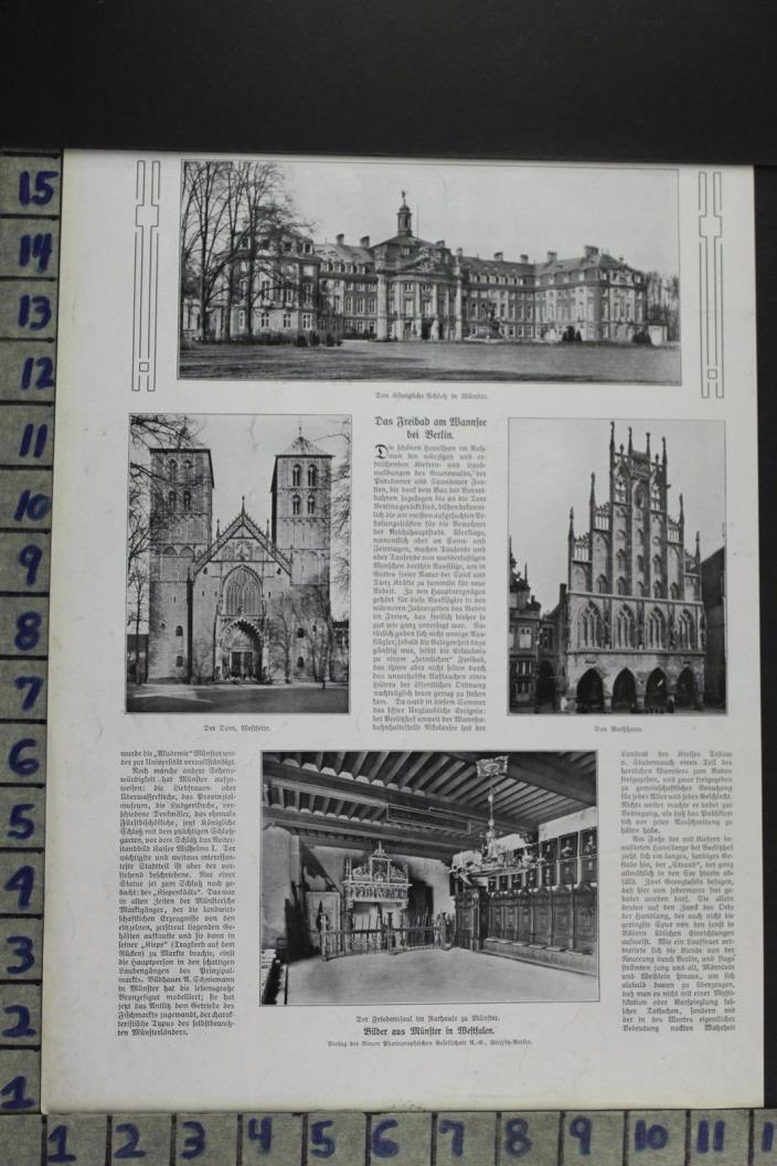 1907 TRAVEL GERMANY ROYAL CASTLE ARCHITECTURE BUILDING HALL VINTAGE AD DZ076