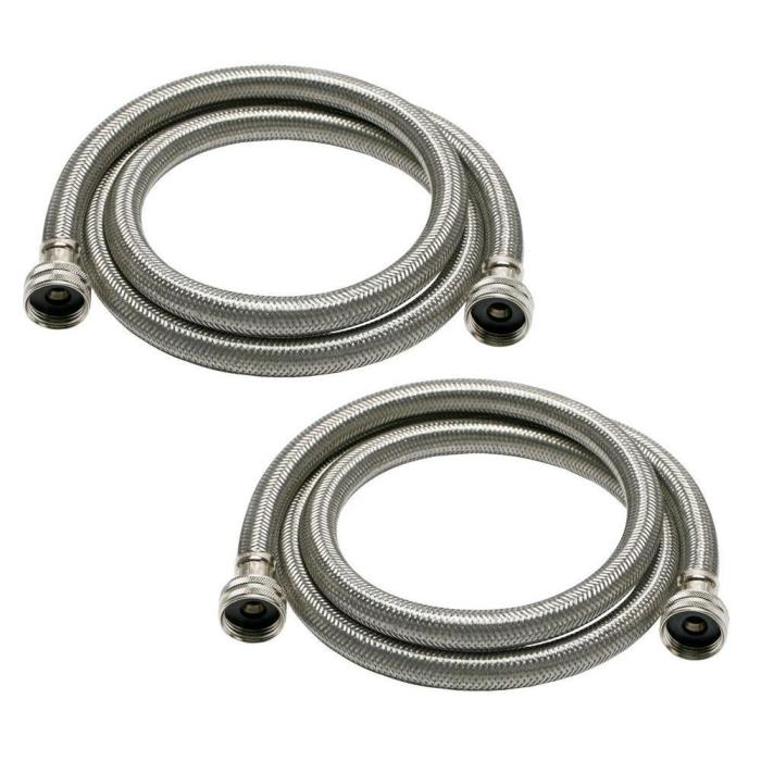Universal 3/4 in. Stainless Steel High Efficiency Washing Machine Hose (2-Pack)
