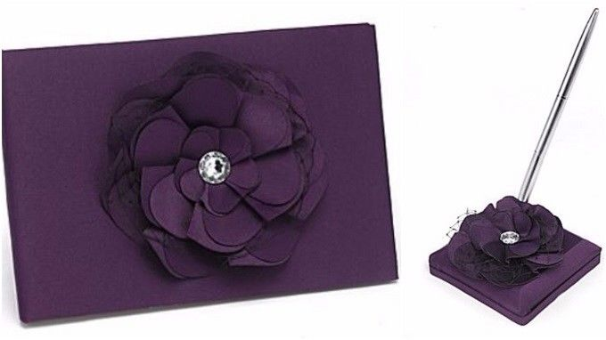 Vintage Purple Wedding Guest Book and Pen Set Elegant Decorations for Reception