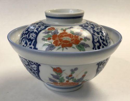 Old Japanese Imari Porcelain Rice Arita Bowl Lid Handpainted Lotus Flower Dish