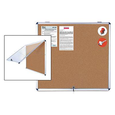 MasterVision Slim-Line Enclosed Cork Bulletin Board 47 x 38 Aluminum Case