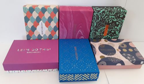 Birchbox Lot of 6 Empty Decorative and Collectible Craft Boxes - 7 x 5 x 1.75 in