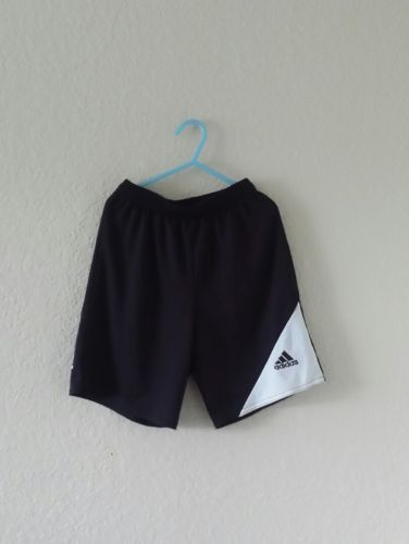 Adidas Climalite black white shorts athletic workout gym fitness boys size small