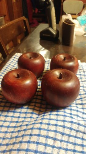 LOT OF 4 VINTAGE WOODEN DECORATIVE RED APPLES -FREE SHIPPING