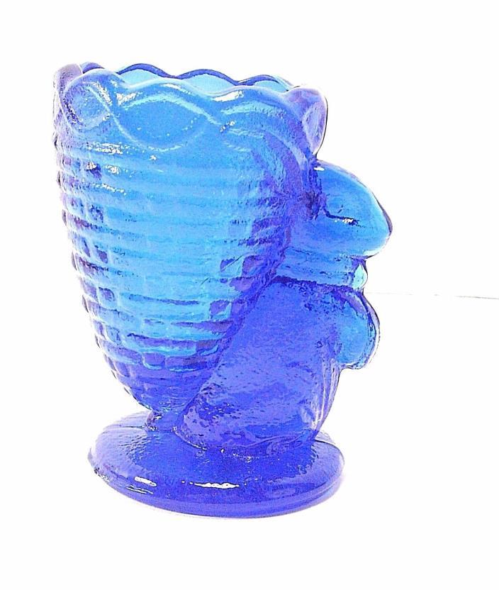 Cobalt Blue Glass Rabbit Basket Toothpick Holder Egg Cup