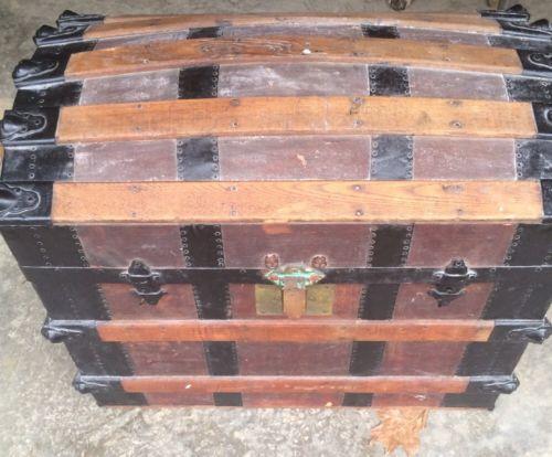 Antique Barrel Trunk Steamer 1800's