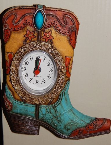 Table or Desk Clock Turquoise Boot Quartz Clock 5-1/2