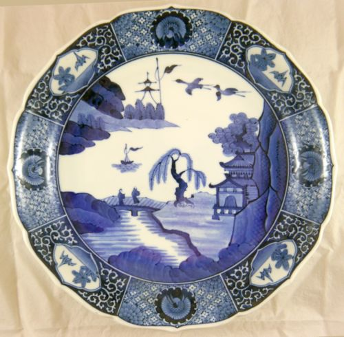 Japanese Arita Blue & White Porcelain Dish. Landscape. Artist Signed Meiji 12.5