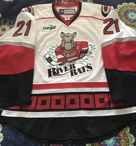 AHL 2009-10 Albany River Rats Jason Lepine game used worn hockey jersey
