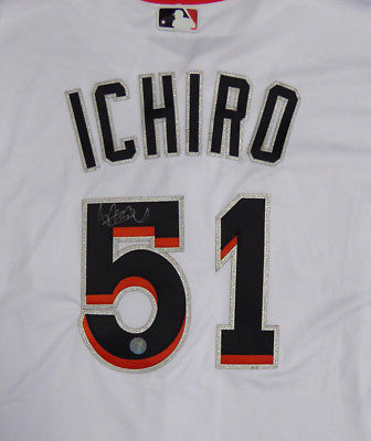 MARLINS ICHIRO SUZUKI AUTOGRAPHED SIGNED MAJESTIC AUTHENTIC JERSEY 48 IS HOLO