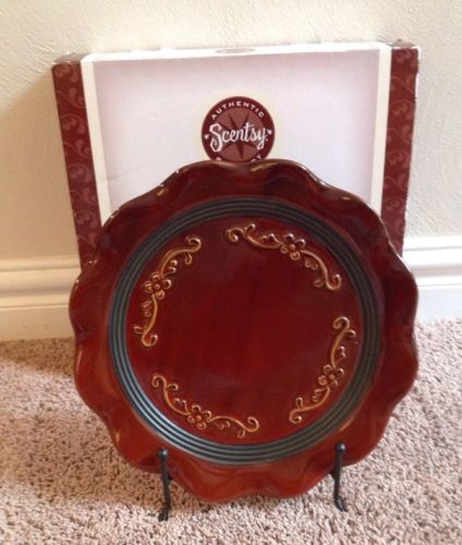NIB SCENTSY ROMA DECORATIVE PLATE & STAND - SUMMER HOST EXCLUSIVE RETIRED, HTF