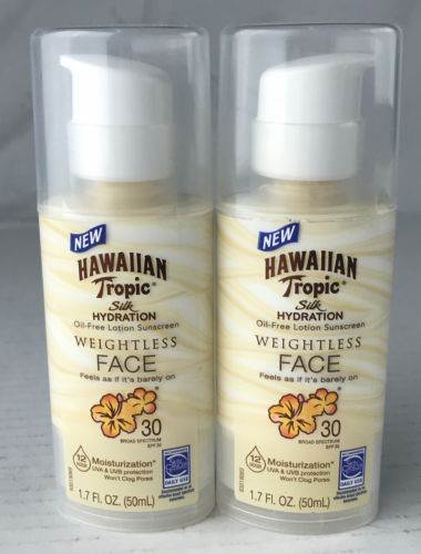 Lot 2 Hawaiian Tropic Silk Hydration Oil Free Face Lotion SPF 30 Weightless 1.7