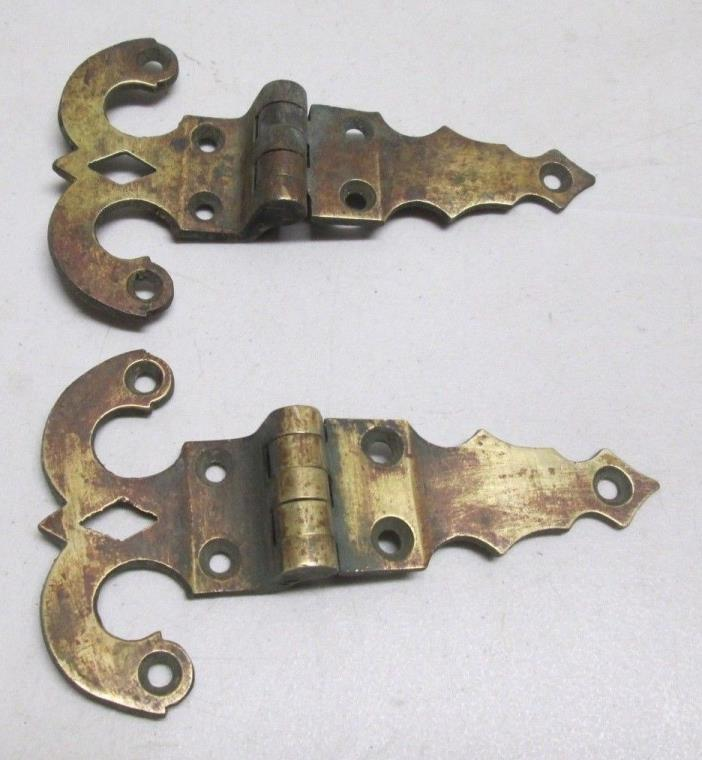 Antique Lot of 2 Ornate Heavy Brass Hinges Ice Box Pair Hinge Vintage Hardware