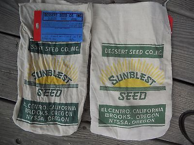 Pair of Small Vintage Cloth Seed Bags / Sack - Desert Seed Co. Sunblest Seeds