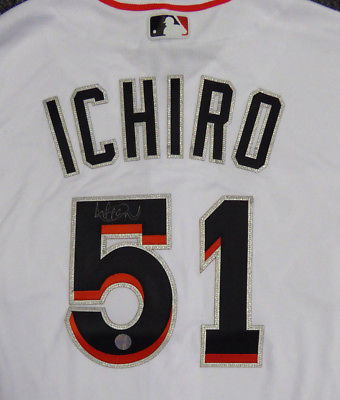 MARLINS ICHIRO SUZUKI AUTOGRAPHED SIGNED MAJESTIC AUTHENTIC JERSEY 44 IS HOLO
