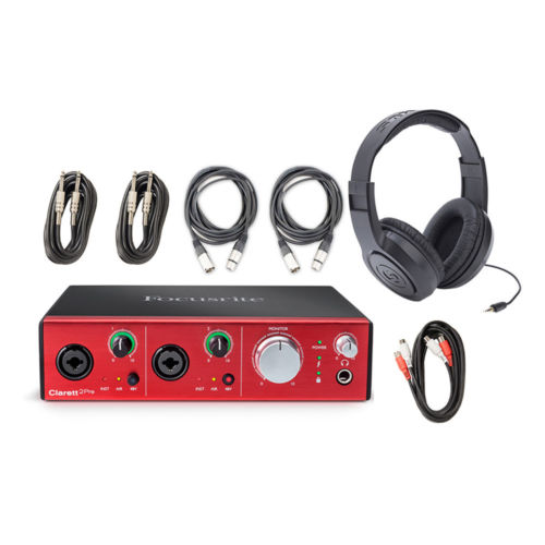 Focusrite Clarett 2Pre Thunderbolt Interface w/ Headphones, & 5 Audio Cables