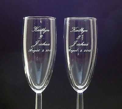 wedding flute champagne glasses engraved free personalized