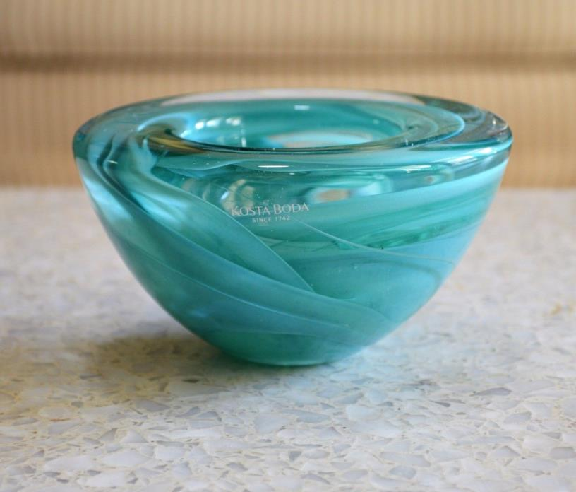 Kosta Boda Turquoise Teal Atoll Art Glass Swirl Bowl Votive Candle Holder