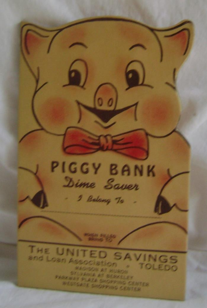 Rare 1970's United Savings Ohio Dime Saver Toledo Die Cut Piggy Bank