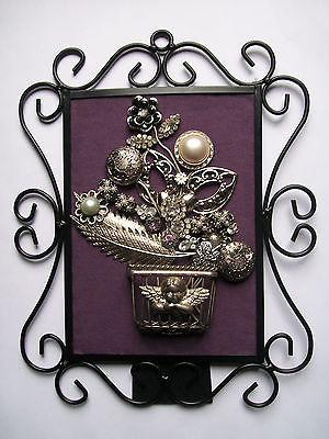 Framed Vintage Jewelry Art Floral - CHERUB'S WINGS