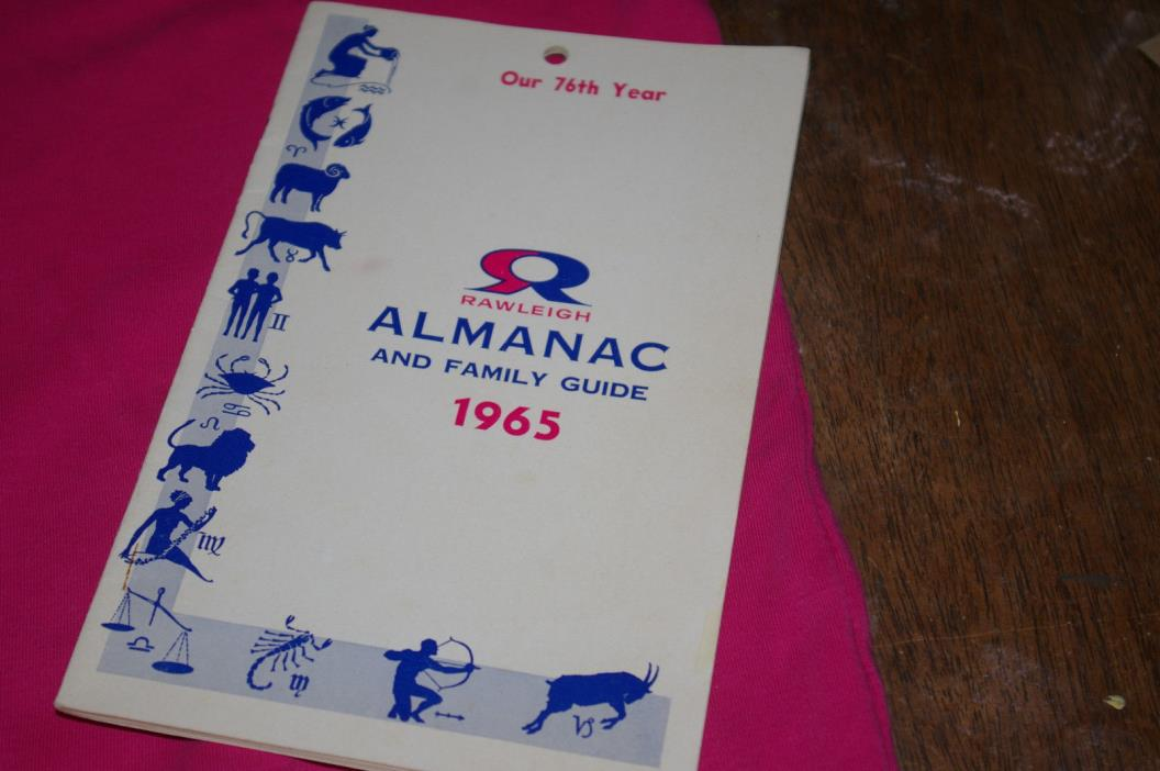 "1965 Rawleigh ""Almanac And Family Guide"" 76th Year Vintage Rare Hard To Find"