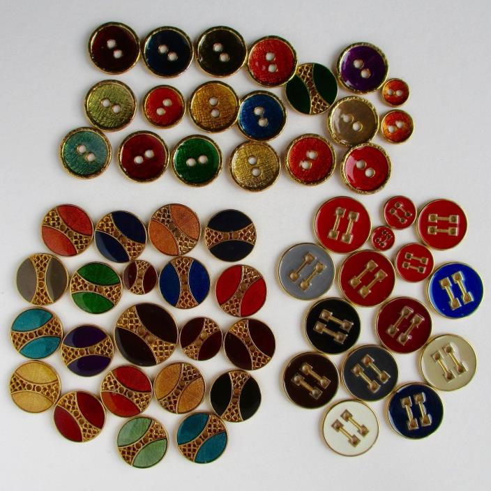 3 Sets of Gilt White Metal Sew-Thru Buttons w Enamel on Face, 55 in All