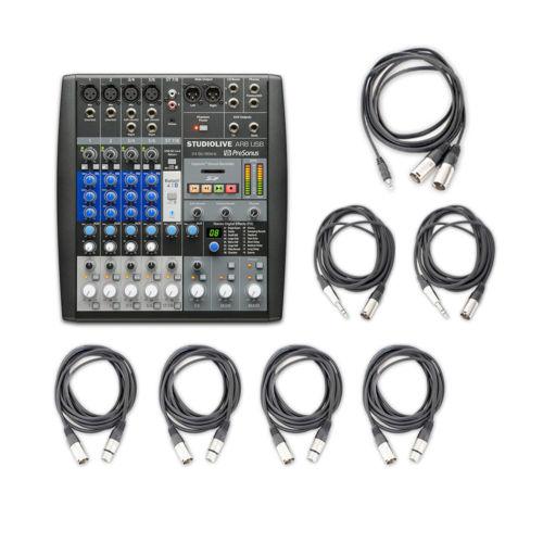 PreSonus StudioLive AR8 8-ch Hybrid Digi/Analog Performance Mixer w/Audio Cables