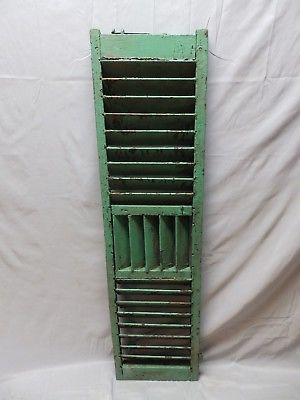 Single Antique Green Wood Louvered Shutters Shabby Vtg Chic Saloon 49x13 47-18P
