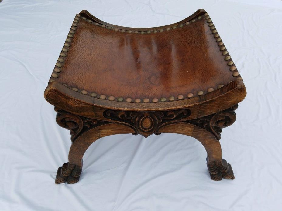 American oak carved and quartersawn antique bench or footstool