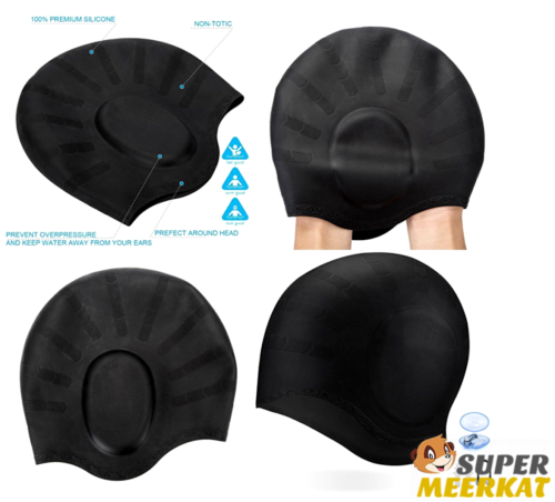 Swim Cap Silicone Swimming Waterproof Vintage For Long Hair Women Adult Men