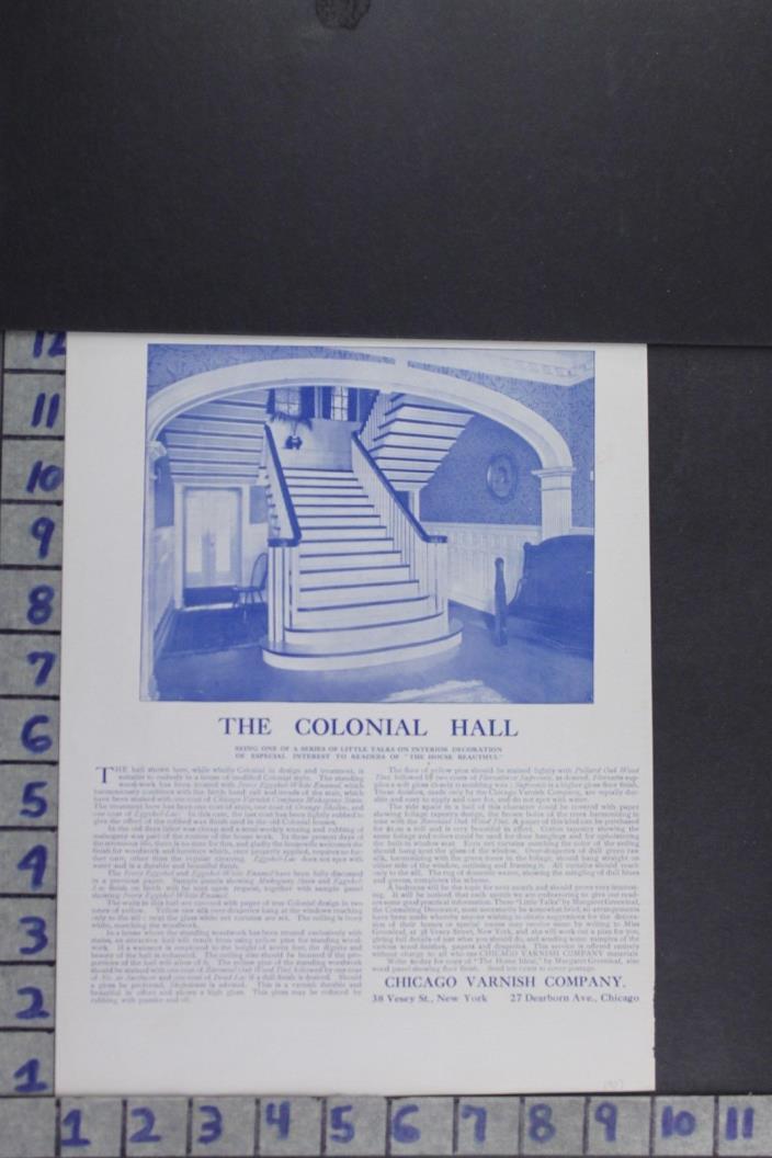 1907 EDWARDIAN ARCHITECTURAL DESIGN CARPENTRY HOUSEHOLD DECOR VINTAGE AD EF005