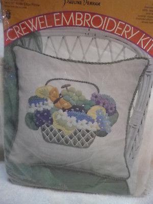 Vintage 1971 Pauline Denham crewel embroidery kit BASKET OF FRUIT 6006 14X14 NIP