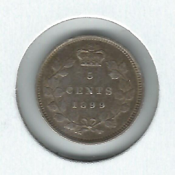 Canada Five Cents 1899 VF