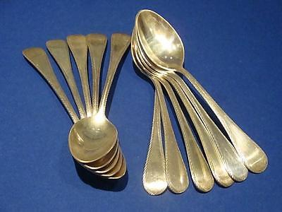 11 STERLING SILVER TEA SPOONS TUTTLE/ WALLACE  FEATHER EDGE