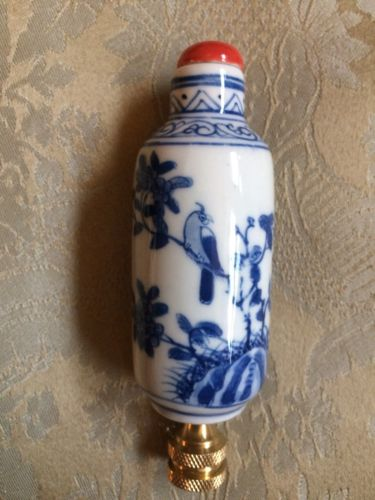 Chinoiserie Blue And White Snuff Bottle Porcelain Lamp Finial Asian Home Decor