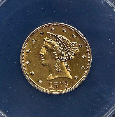 1873 CLOSED 3 $5 GOLD LIBERTY HALF EAGLE PR60 DETAILS - RARE PROOF!