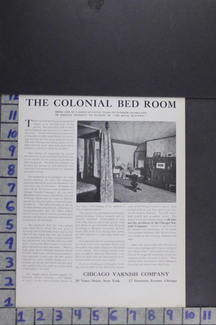 1907 EDWARDIAN ARCHITECTURAL DESIGN COLONIAL BEDROOM DECOR VINTAGE AD EF004