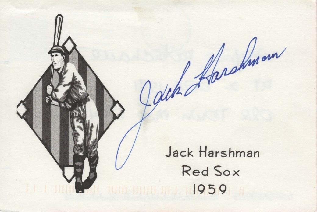 Baseball Player Jack Harshman Autograph Hand Signed Postcard - 1959 Red Sox