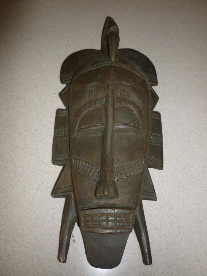 Vintage Senufo Kpelie Kulie Ivory Coast Tribal Mask Wood Lo Society