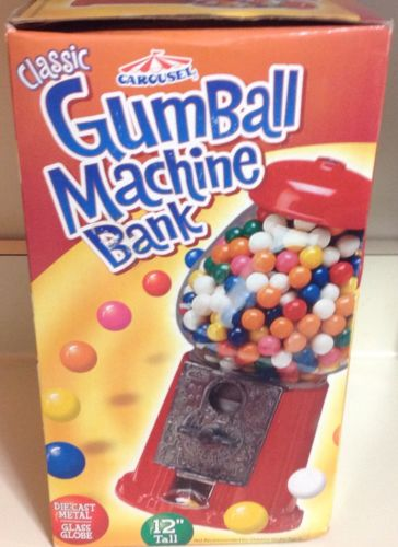 Gumball Machine Bank, Die cast Metal, Glass Globe by Carousel, 12