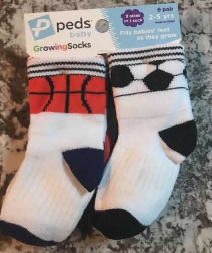 NWT TODDLER BOY (6)PACK PEDS GROWING SOCKS SIZE 2-5 YEAR OLD