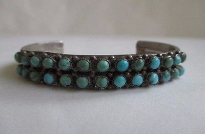 Vtg Navajo Indian Sterling Silver Turquoise Snake Eye Double Row Cuff Bracelet