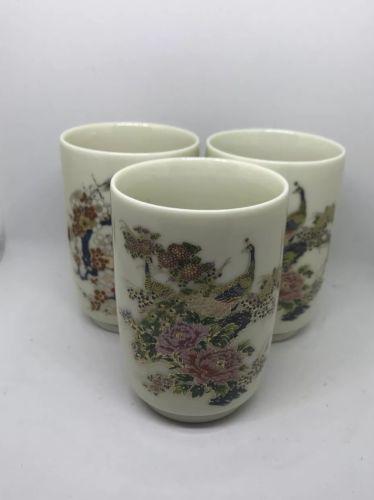 Vintage Kutani Tea Glasses Floral Japan Meji Era Gilded Set of 3 Peacock