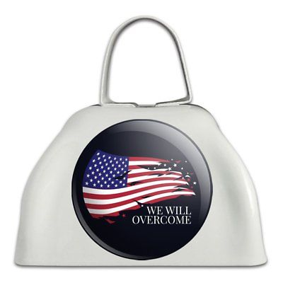We Will Overcome Flag Stars USA America White Metal Cowbell Cow Bell Instrument